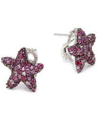 Effy - Women's Sterling Silver, Ruby & Sapphire Star Earrings - Lyst
