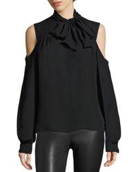 Saks Fifth Avenue - Silk Cold-shoulder Tie-neck Blouse - Lyst