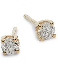 Effy 14k Yellow Gold & Diamond Stud Earrings - Multicolour