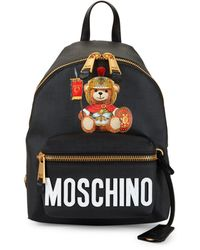 Moschino Roman Teddy Bear Faux Leather Backpack - Black