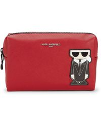 Karl Lagerfeld Saffiano Cosmetic Bag - Red