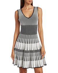 Hervé Léger Lurex Stripe Fit-&-flare Dress - Black