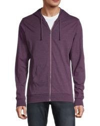Unsimply Stitched Men's Full-zip Cotton Hoodie - Purple - Size S