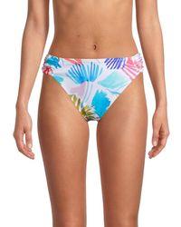 X By Gottex Women's Printed Bikini Bottom - Size 42 (12) - Blue