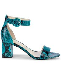 Marc Fisher Women's Snakeskin-print Leather Ankle-strap Sandals - Pink - Size 5