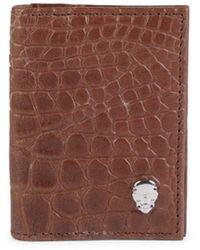 Robert Graham Men's Courageous Skull Leather Wallet - Brown