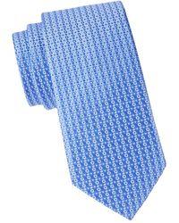 Eton Men's Geometric Silk Tie - Blue