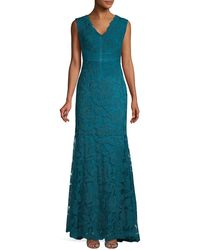 Tadashi Shoji Cap Sleeve Metallic Lace Gown - Blue