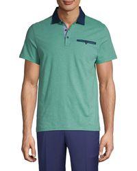 Saks Fifth Avenue Striped Polo Shirt - Gray