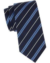 BOSS by Hugo Boss Men's Striped Silk Tie - Navy - Blue