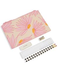 Kate Spade Falling Flower Pencil Pouch & Stationery 6-piece Set - Pink