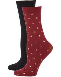 DKNY 2-pack Star-print Trouser Socks - Red