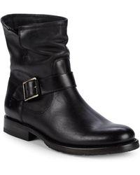 Frye Natalie Engineer Leather Moto Boots - Black