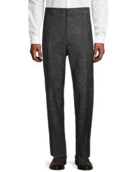 Versace Men's Classic-fit Wool Trousers - Black Grey - Size 62 (46)
