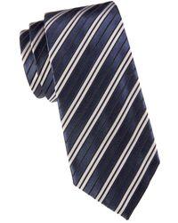 Armani Men's Striped Silk & Cotton-blend Tie - Solid Blue