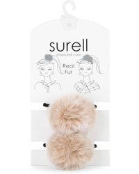 Surell - Two-piece Rabbit Fur Pom-pom Hair Tie Set - Lyst