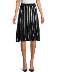 Saks Fifth Avenue Striped Cotton-blend A-line Skirt - Black