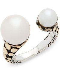 John Hardy - 5mm & 8mm White Pearl, Sterling Silver & 18k Yellow Gold Ring - Lyst