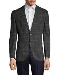 BOSS by HUGO BOSS Janson Regular-fit Windowpane Virgin-wool Jacket - Grey