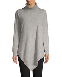 Donna Karan Asymmetric Cashmere Turtleneck Sweater - Metallic