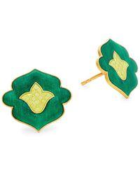 Legend Amrapali Holi 18k Yellow Gold & Enamel Stud Earrings - Multicolor