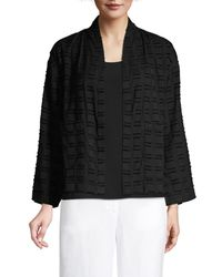 Eileen Fisher Women's High Collar Organic Cotton Jacket - Black - Size Xxs