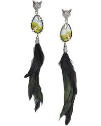 Alexis Bittar Women's 10k Goldplated, Feather, Lucite, & Crystal Clip-on Drop Earrings - Multicolor