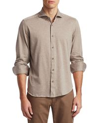 Saks Fifth Avenue Collection Solid Knit Sportshirt - Multicolour