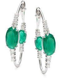 Hueb 18k White Gold, Diamond & Emerald Earrings - Green