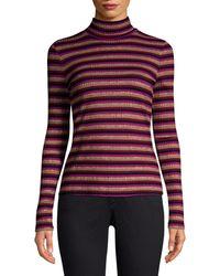 Generation Love Moira Stripe Long-sleeve Knit Turtleneck Jumper - Purple