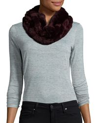 Surell Dyed Rex Rabbit Fur Infinity Scarf - Black