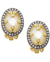 Freida Rothman - Mirror Mirror Sterling Silver & Mother-of-pearl Clip Earrings - Lyst