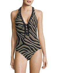 20fbb0c94cd09 Lyst - Michael Michael Kors Abby Stripe Overlapped Swimsuit in Blue
