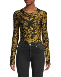 Versace Women's Miranda Paisley-print Bodysuit - Nero - Size 46 (10) - Black