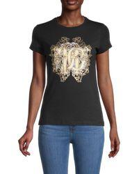 Roberto Cavalli Women's Metallic Monogram Logo T-shirt - Nero - Size Xs - Black