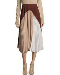 Agnona Silk Colorblock Skirt - Natural
