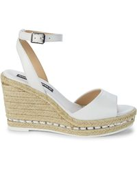 Karl Lagerfeld Carin Leather Espadrille Wedge Sandals - White
