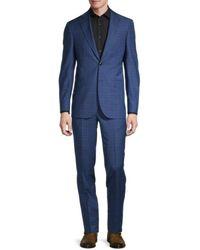 Ted Baker Men's Jay Standard-fit Windowpane Wool Suit - Blue - Size 38 S