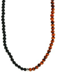 Effy - 925 Tiger Eye And Onyx & Sterling Silver Necklace - Lyst