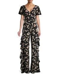 Michael Kors Ruffled Floral-print Silk-crepe Jumpsuit - Black