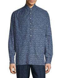 Eidos Asymmetrical Floral Shirt - Blue