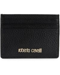 Roberto Cavalli Men's Textured Leather Card Case - Black