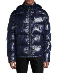 Champion Men's Removable Hood Puffer Jacket - Navy - Size Xs - Blue