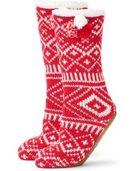 Jane And Bleecker - Knit Instarsia Faux-fur Lined Sock Slippers - Lyst