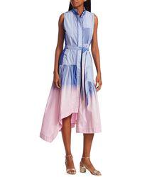 10 Crosby Derek Lam Nerioa Dip-dyed Flare Shirtdress - Pink