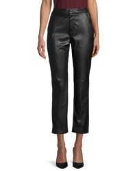 Donna Karan Cropped Faux Leather Trousers - Black