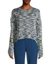 525 America Women's Multicolored Distressed Sweater - Black Multicolor - Size S