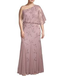 Adrianna Papell Plus Embellished One-shoulder Gown - Multicolor
