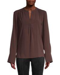 Calvin Klein Women's Pleated Splitneck Blouse - Coffee Bean - Size M - Brown