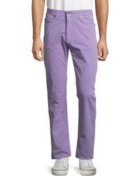 Robert Talbott - Solid Cotton-blend Trousers - Lyst